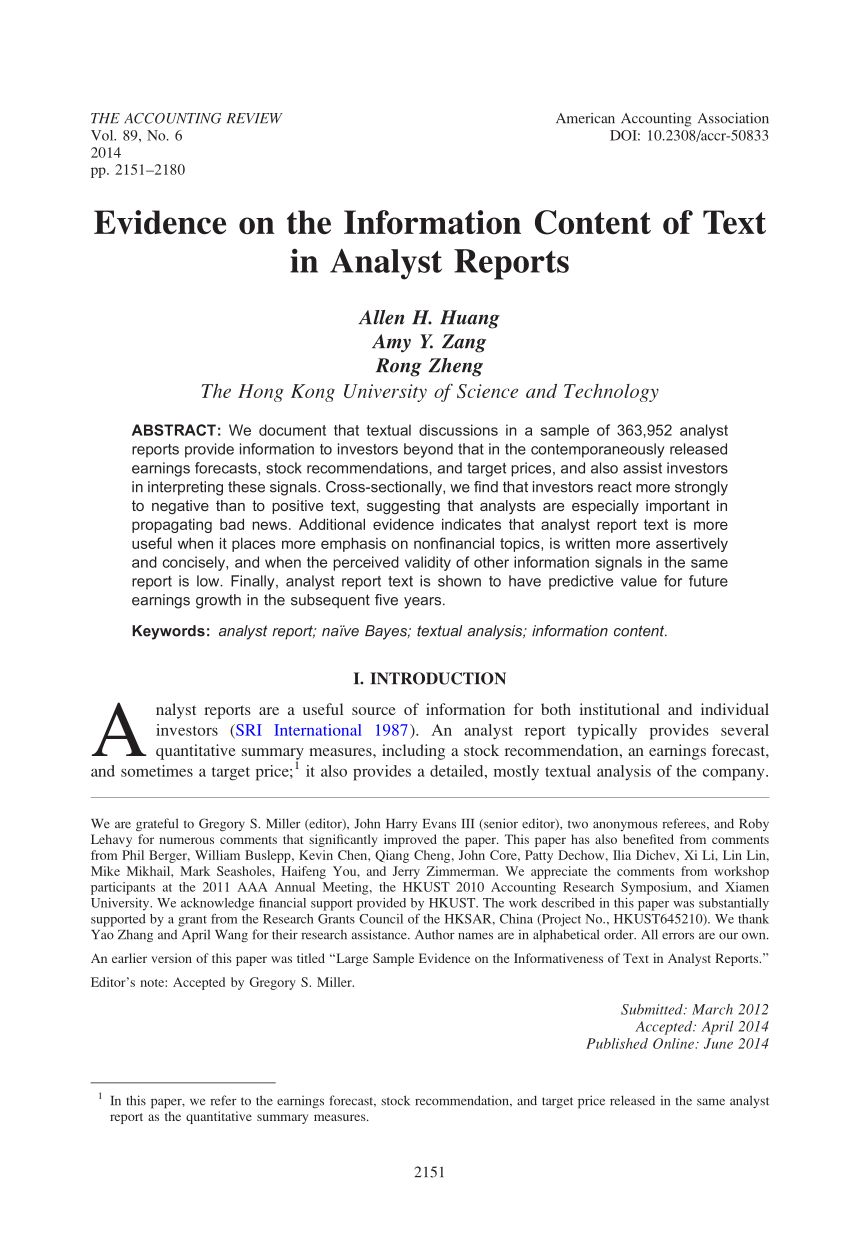 Pdf Large Sample Evidence On The Informativeness Of Text In Pertaining To Stock Analyst Report Template Report Template Analyst Stock Analysis