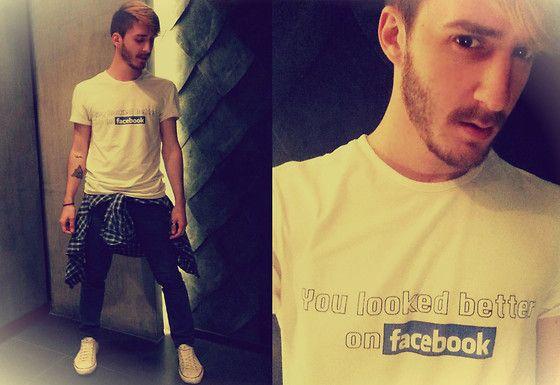 Kuka oikeasti kehtaa pitää tekstillisiä t-paitoja ja vielä tuollaisella tekstillä? --- Fb Tshirt, Converse All Star Beige, H Blue Black Skinny, Differ Stores Blue Shirt