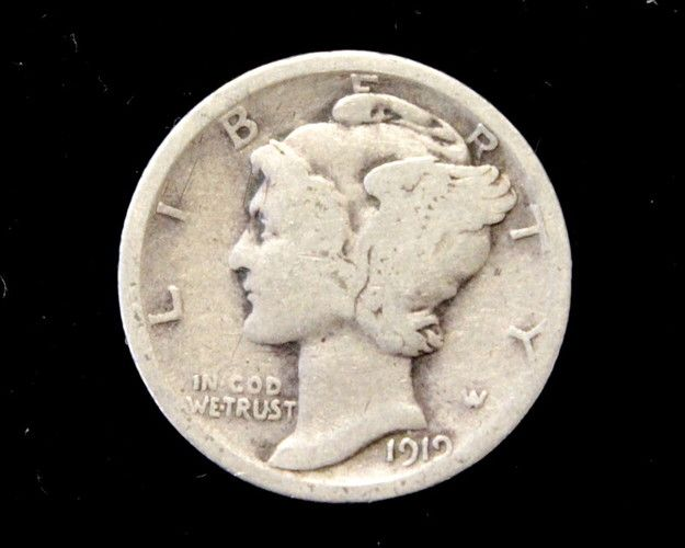 1919 Good or Better Mercury Dime, 90% Silver!  . Starting at $1