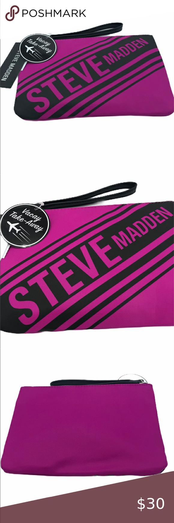 Steve Madden Handbag Wristlet Steve Madden Color Neon Pink Logo Flat Pouch 6 1 2 X 9 Steve Madden Bags Cosmeti Steve Madden Handbags Handbag Steve Madden