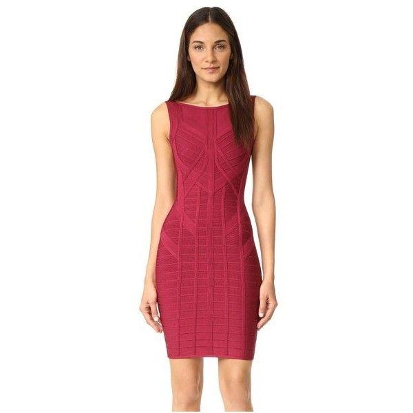 Herve Leger Sleeveless Dress (£895) ❤ liked on Polyvore featuring dresses, dark maroon, red sleeveless dress, red dress, sleeveless dress, scoop back dress and sleeveless bandage dress