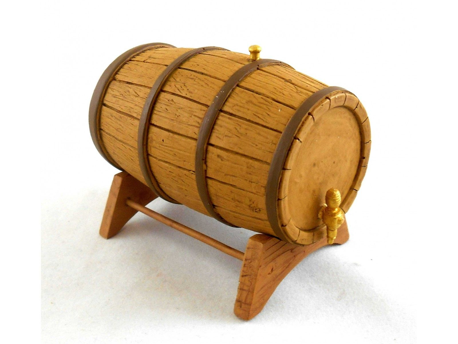Dolls House Miniature Pub Furniture Large Wine Beer Barrel On Stand