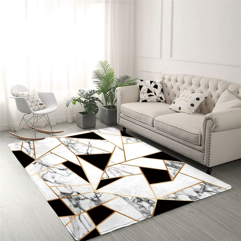 Geometric Carpets For Living Room Black
