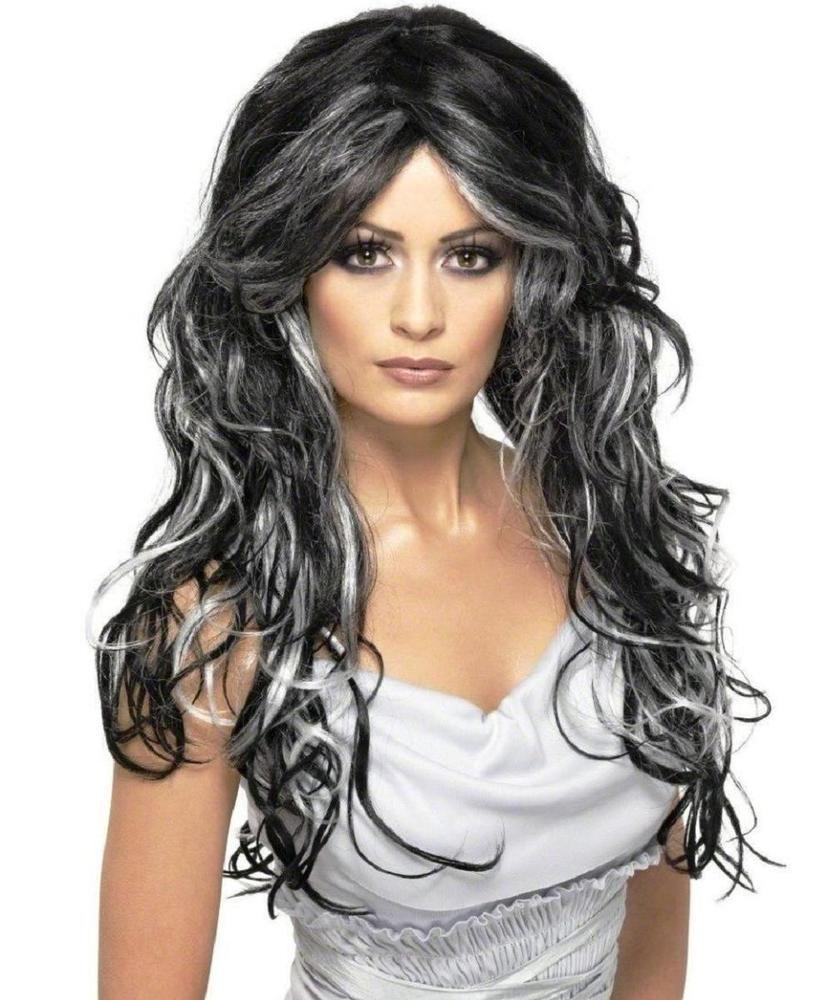 Women Ladies Long Wig Hair Halloween Gothic Witch Black Grey Streak Fancy Dress Gothic Bride Long Wigs Halloween Wigs