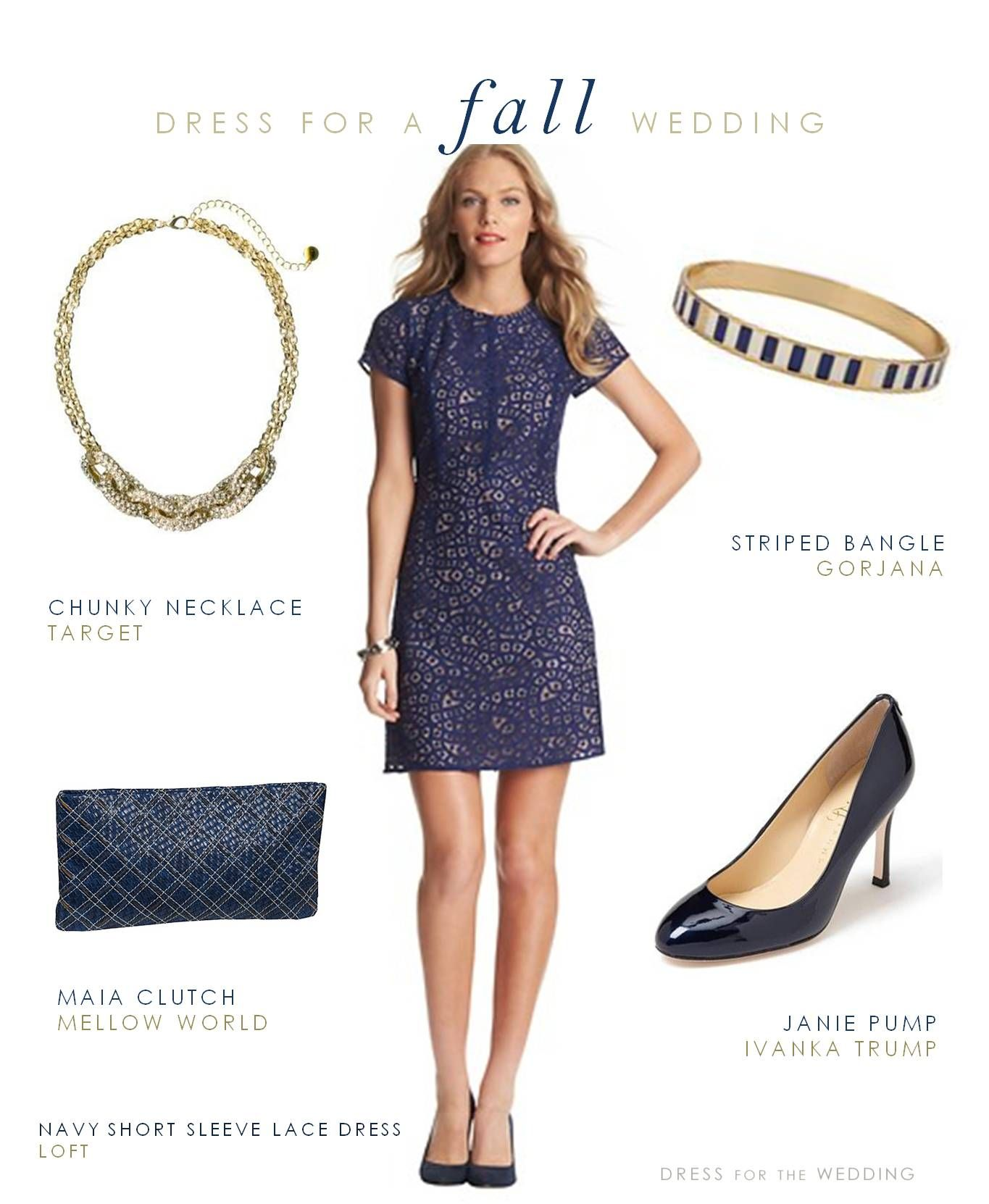Navy Lace Short Sleeve Dress Fall wedding guest dress