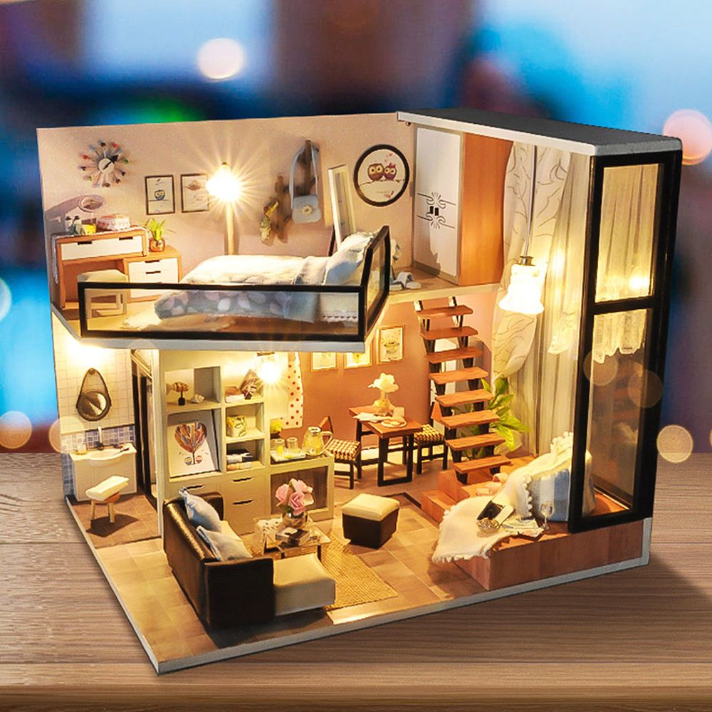 Mini Cockloft Wooden LED Light DIY Dollhouse Miniatures Furniture Apartments KIT