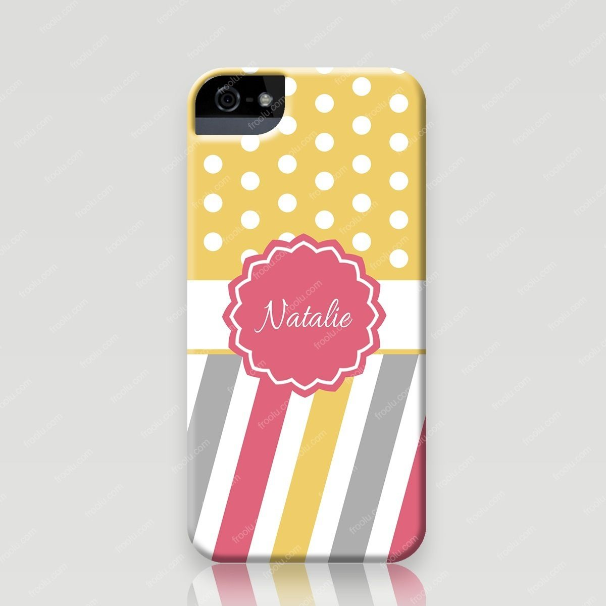 Custom iPhone 5 and 5s Case - Amber in Polka Dots & Stripes - Froolu