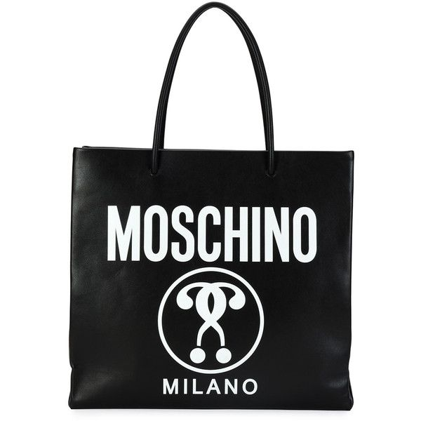 Moschino Large Logo-Print Shopping Tote Bag (£485) ❤ liked on Polyvore featuring bags, handbags, tote bags, black, moschino, tote hand bags, pattern tote bag, moschino purse and moschino tote