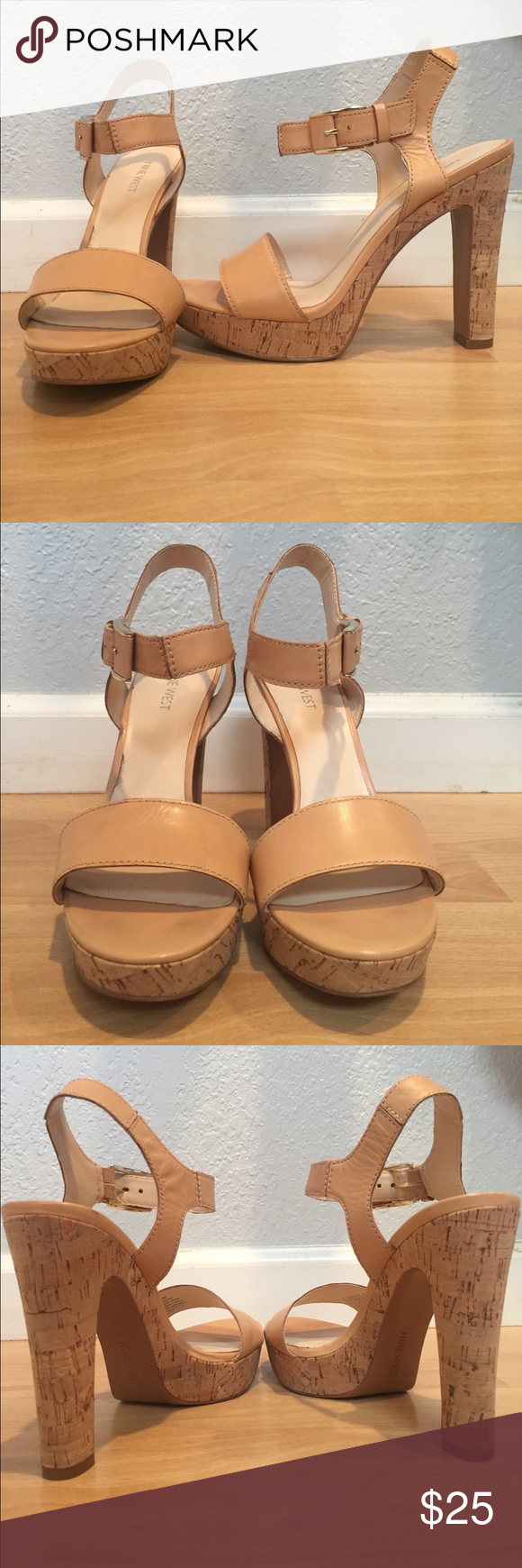 Leather Platforms Sexy summer platforms. 5 inch heel with 1 1/4 inch platform. Surprisingly comfortable! Some slight discoloration on the toe straps (pictured). Otherwise EUC. Feel free to make me an offer! Nine West Shoes Platforms