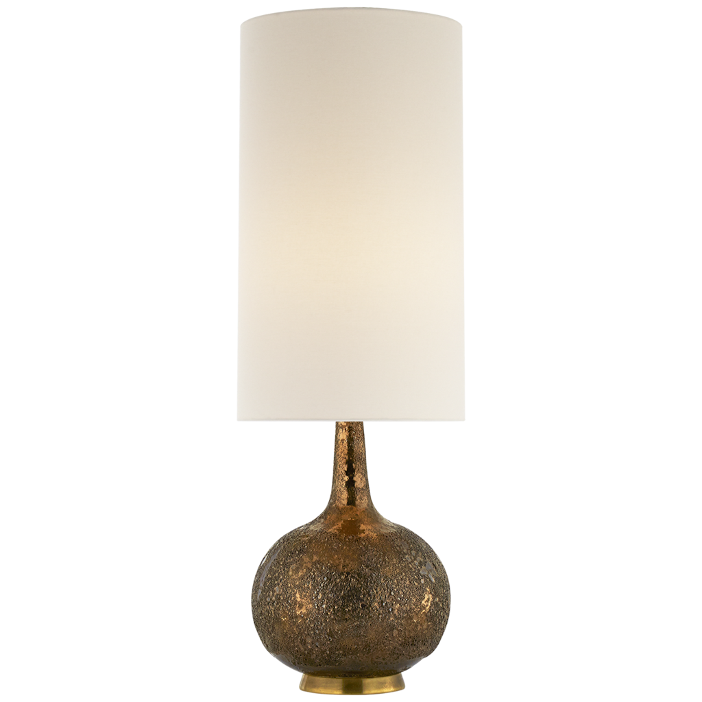 Hunlen Table Lamp In Chalk Burnt Gold With Linen Shade At