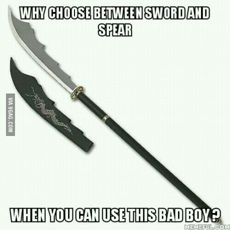 With the argument between katana/long sword/spear | TUMBLR
