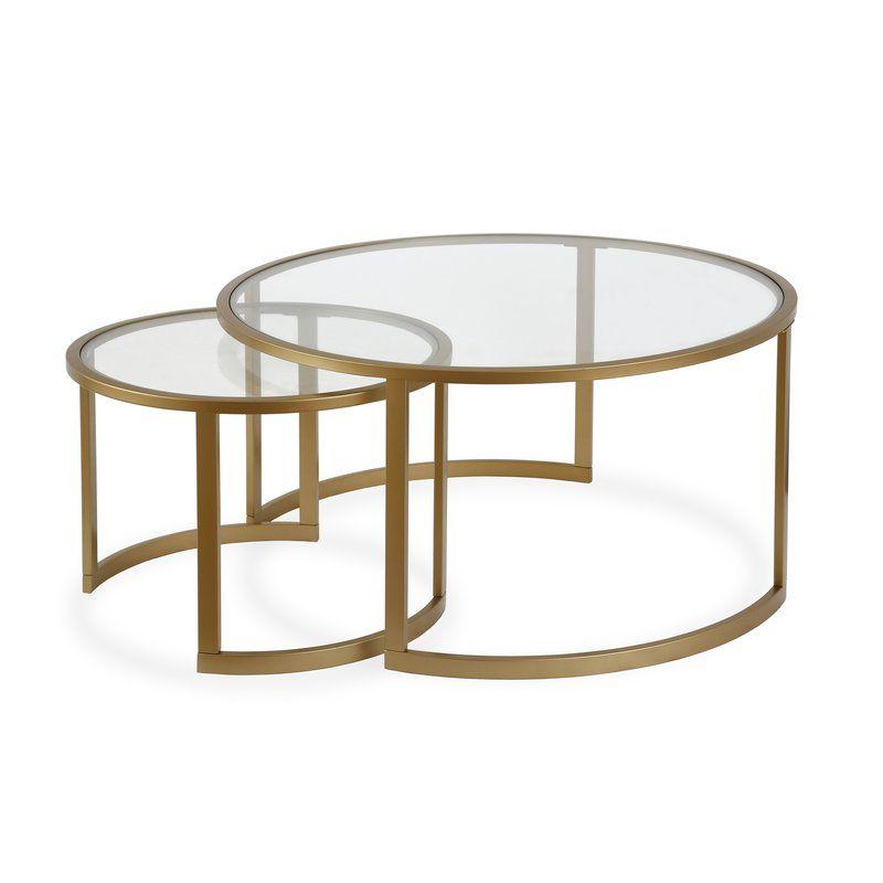 Mitera 2 Piece Coffee Table Set Nesting Coffee Tables Round Nesting Coffee Tables Coffee Table Glass nesting coffee tables