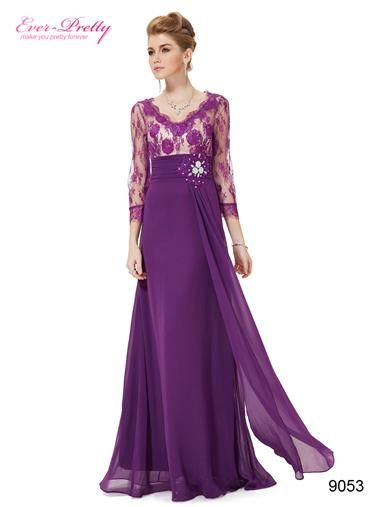 216446d14b3c 3 4 Sleeve Sheer Lace Rhinestone V-neck Evening Gown - Ever-Pretty ...