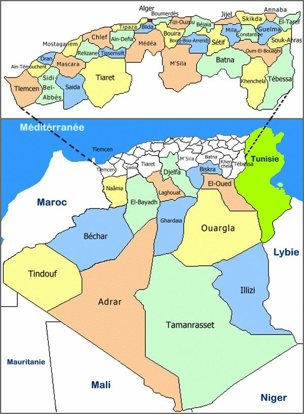 Carte Algerie Departement La Carte Des Departements D Algerie