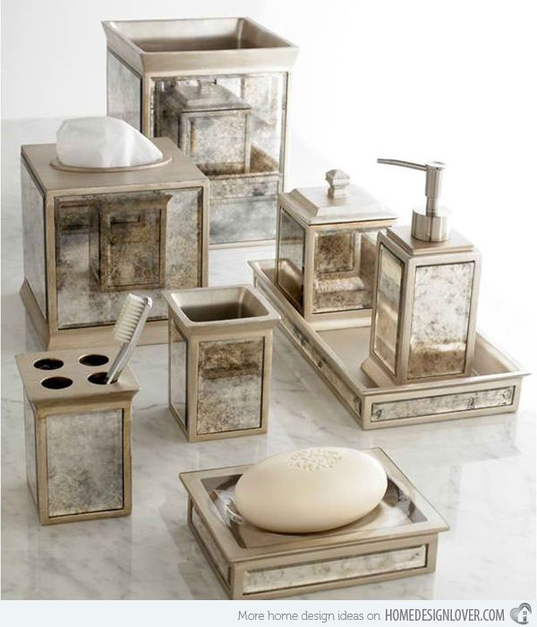 15 Luxury Bathroom Accessories Set Mirrored Bathroom Accessories