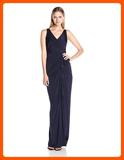 d6b37a890e1 Store · Clothing · Adrianna Papell Women's Draped Venecian Jersey Gown with  V-Neckline, Navy, 12 -