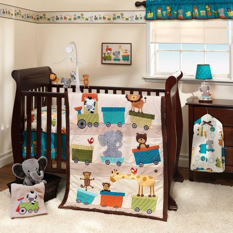Jungle Circus Zoo Animals With Choo Train Baby Boys 3 Pc Crib Bedding Set