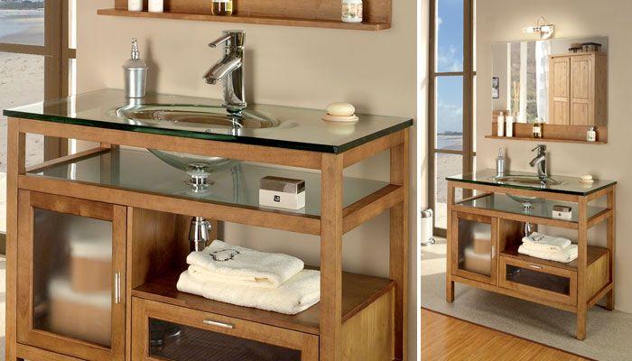meuble salle de bain bois verre
