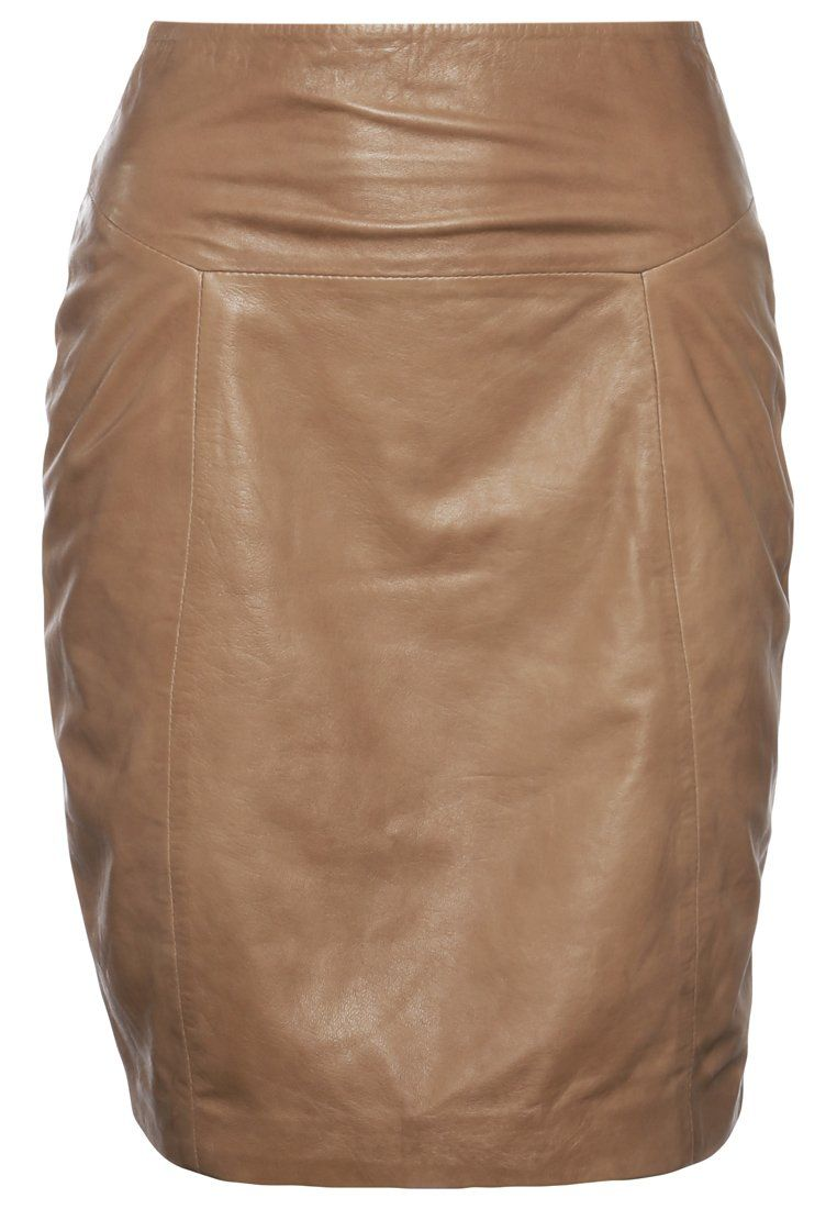 Cigno Nero Claudia Leather Skirt Beige Leather Skirts Leather