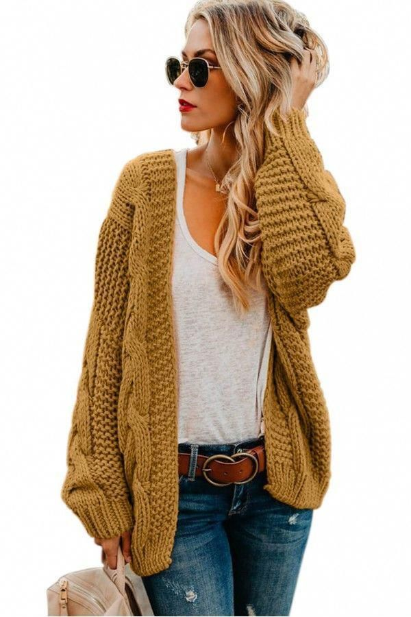 Khaki Chunky Wide Long Sleeve Knit Cardigan - Knit Cardigan