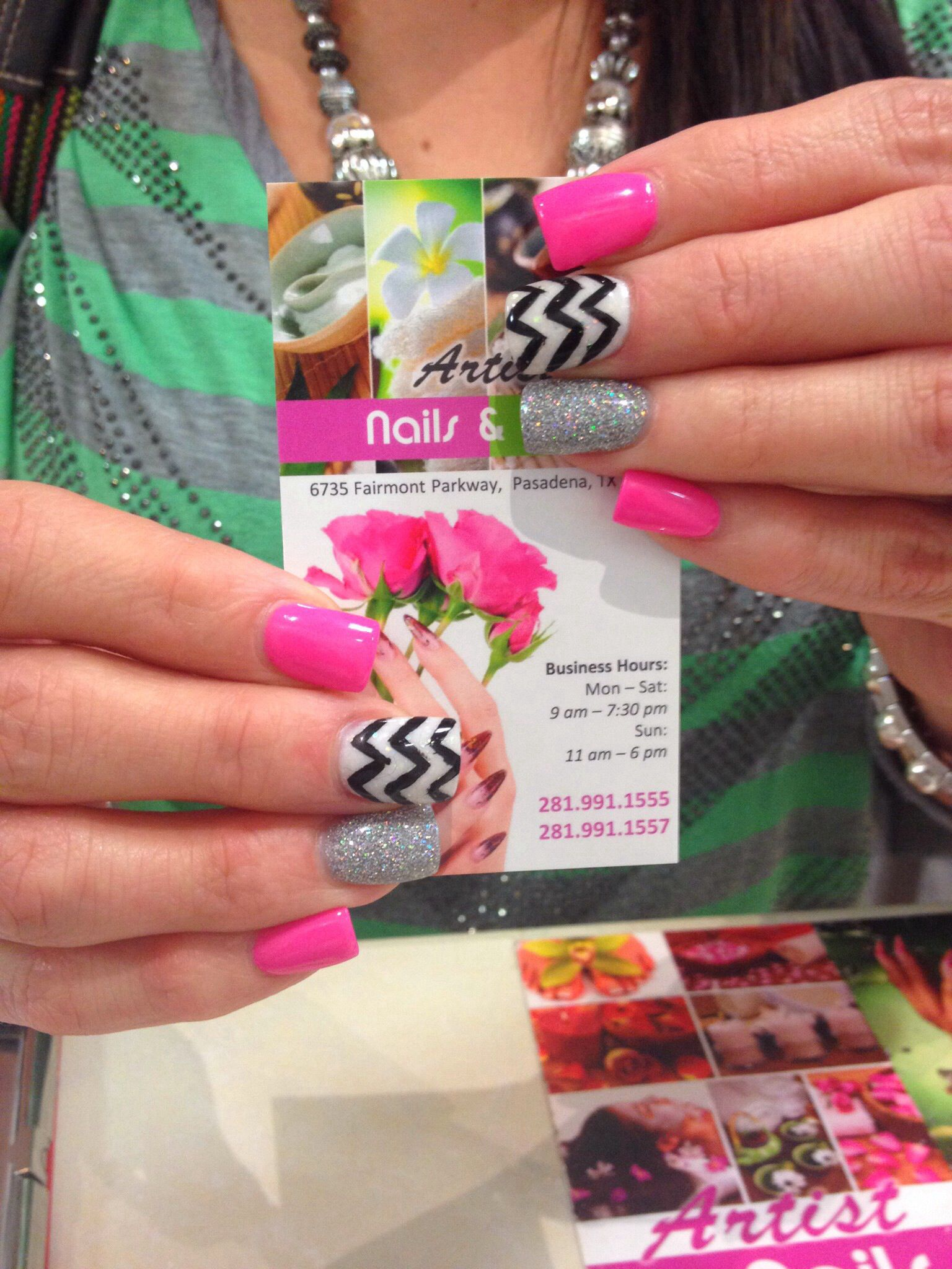 Pink, white and silver glitter nails with chevron designs | ARTIST ...