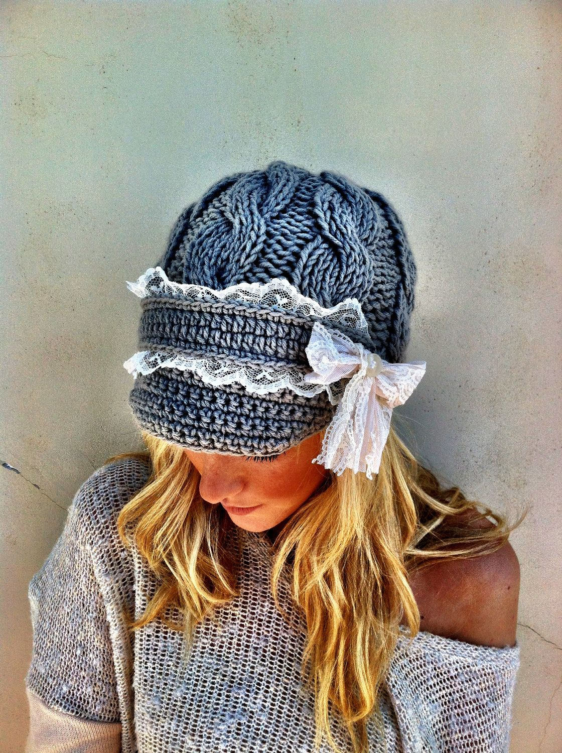Cute Toque! Warm Cable Knitted Lace Brimmed Hat Boho Chunky Cap with ...