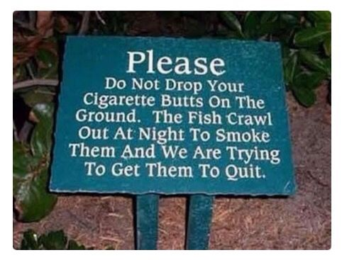 Cigarette Butts Sign