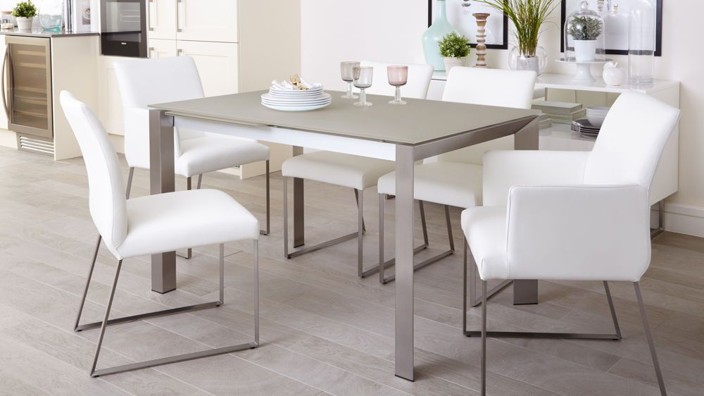 Eve Frosted Glass Extending Dining Table In Grey And Brushed New Extended Dining Room Tables Inspiration Design