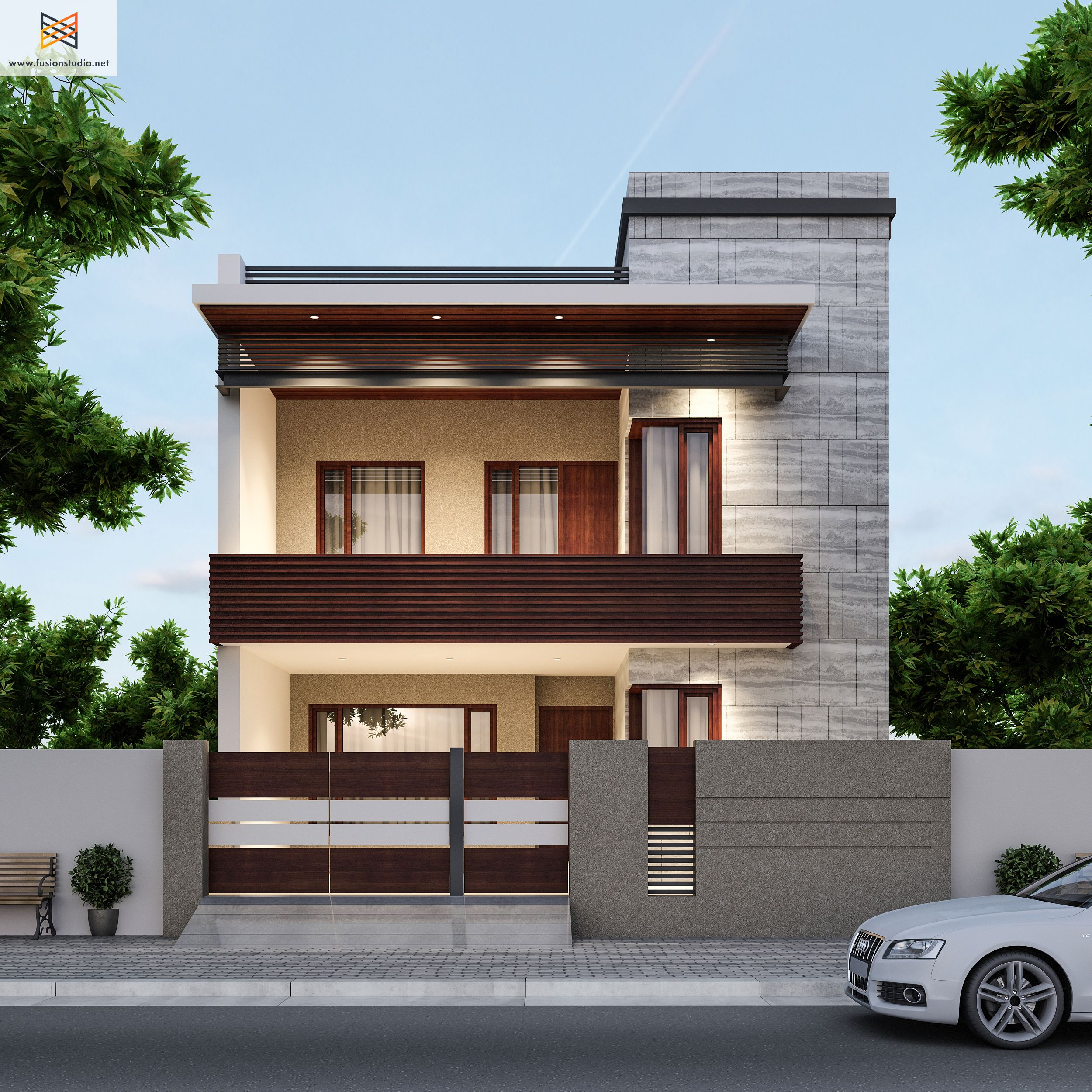 Echa un vistazo a este proyecto behance u201c250 yards for Images of front view of beautiful modern houses