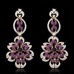 Lady's Purple Crystal Zircon Chandelier Drop Earrings for Wedding Party Jewelry – USD $ 17.98