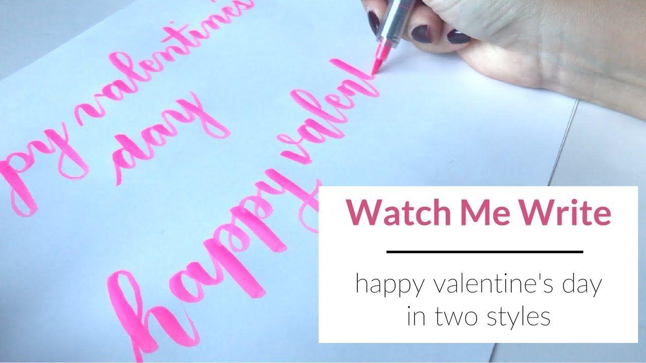 How To Write Happy Valentine S Day In Calligraphy Happy Valentines Day Lettering Challenge Happy Valentine