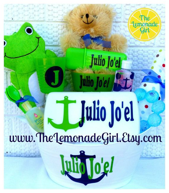 Personalized baby boy girl anchor baby shower gift basket gift easter baskets personalized baby boy girl anchor baby shower gift basket gift set gift bucket negle Gallery