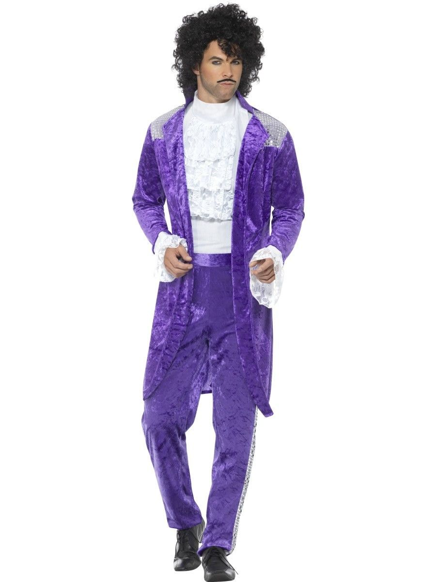 80's Purple Musician (Prince) Men's Fancy Dress Costume in