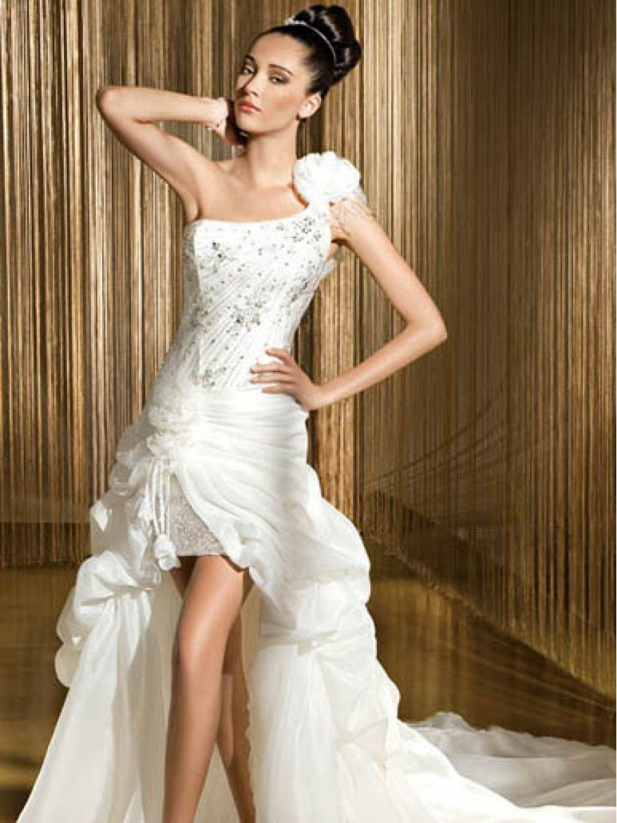 high low one shoulder wedding dresses | Affordable High Low One ...
