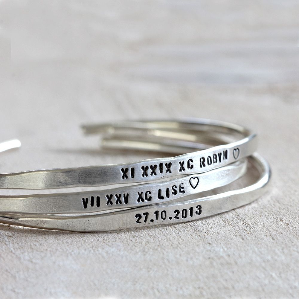 Personalized Silver Cuffs Brass or Silver Custom Bracelets - praxis jewelry Anniversary and inspirational saying