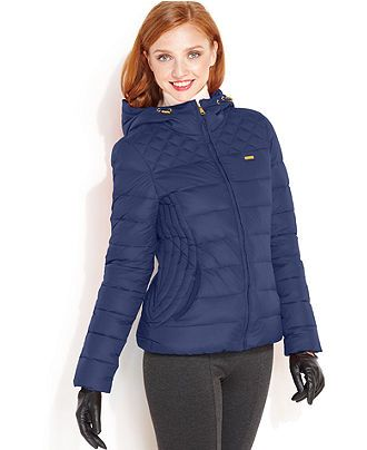 Bebe Jacket, Hooded Fitted Down Puffer - Womens Coats