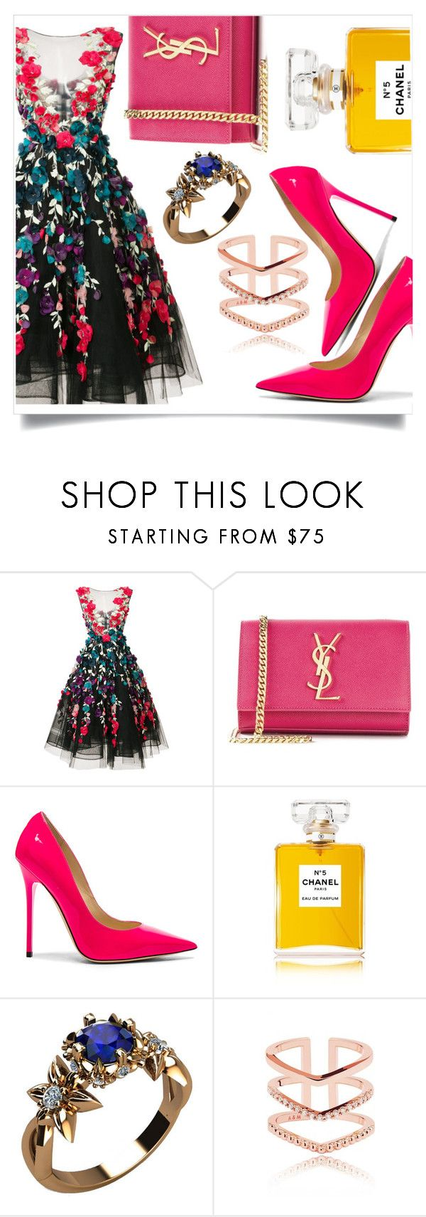 """""""👗"""" by culinaryjumi ❤ liked on Polyvore featuring Marchesa, Yves Saint Laurent, Jimmy Choo and Chanel"""