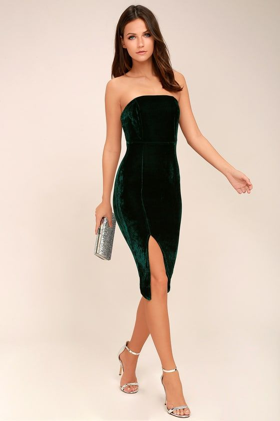 531a08a469df Hey Baby Forest Green Velvet Strapless Bodycon Midi Dress