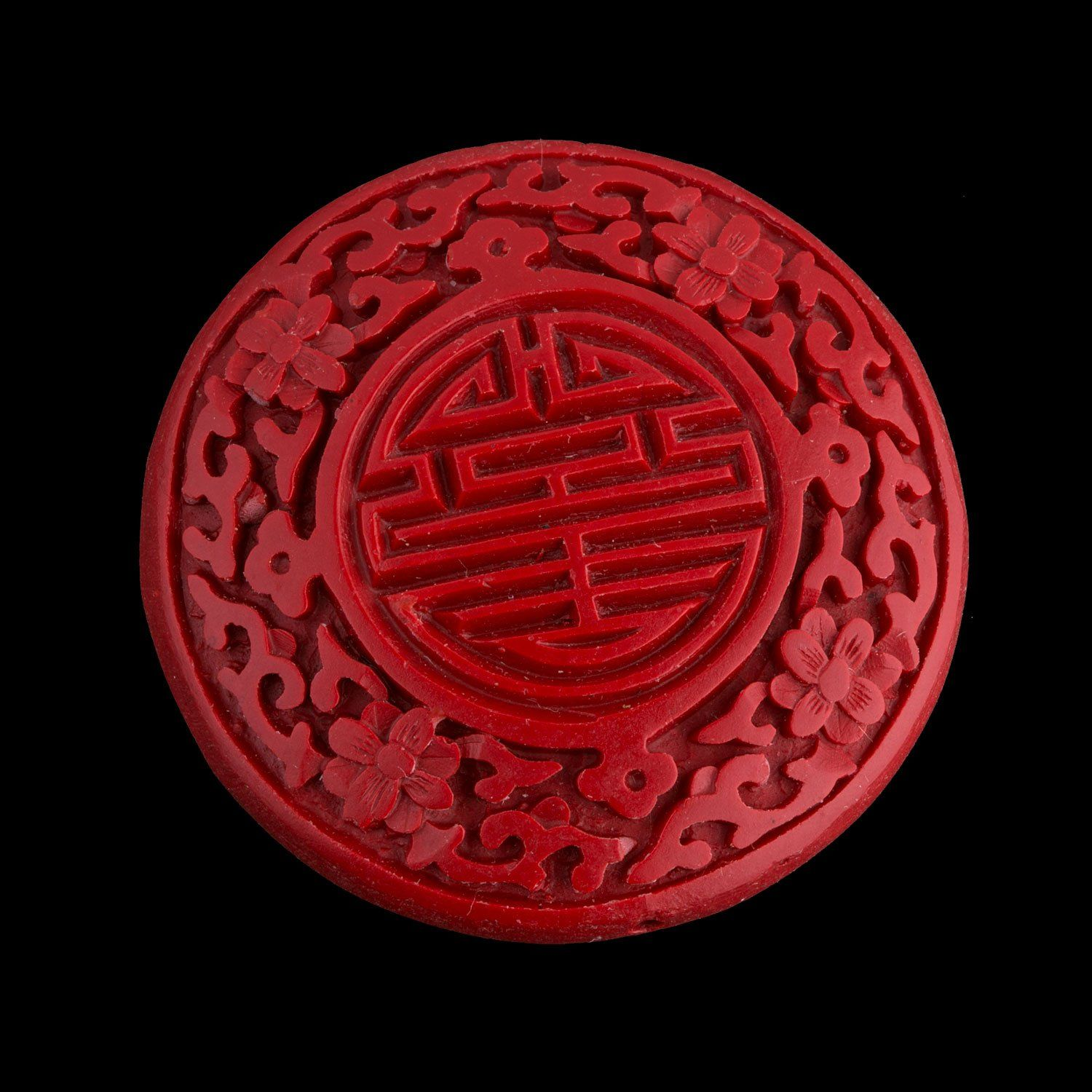 Bright Red Carved Cinnabar Blessing Beads 3 Sizes Carved Lacquer-Ware Flower Floral Blessing Red Cinnabar Beads 10 Cinnabar Beads KU33