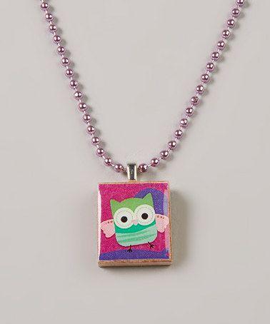 Pink Owl Scrabble Tile Necklace by Festivity Designs on #zulily