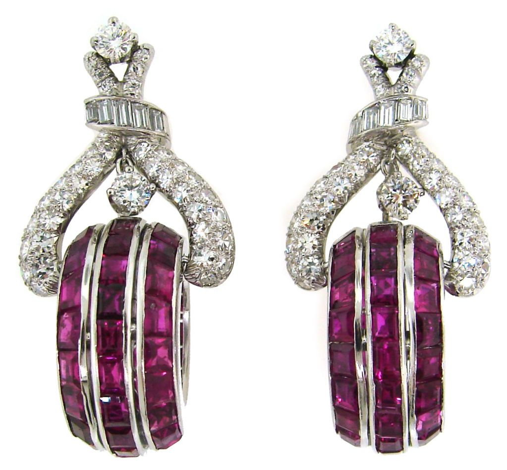 French cut Ruby, Diamond & Platinum Earrings