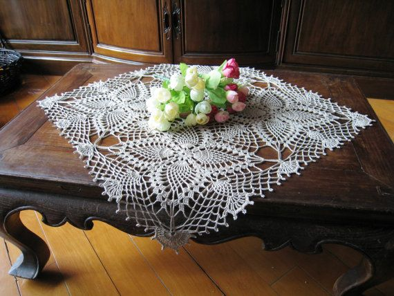 Crochet Square Lace Table Cloth Linen Ecru Topper Shabby Chic Covering Flower Motifs Bridal