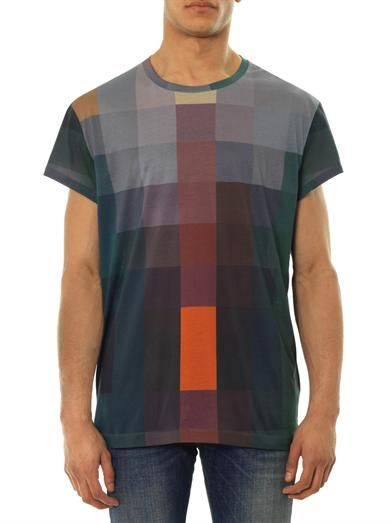 Acne Studios Fine print checked T-shirt