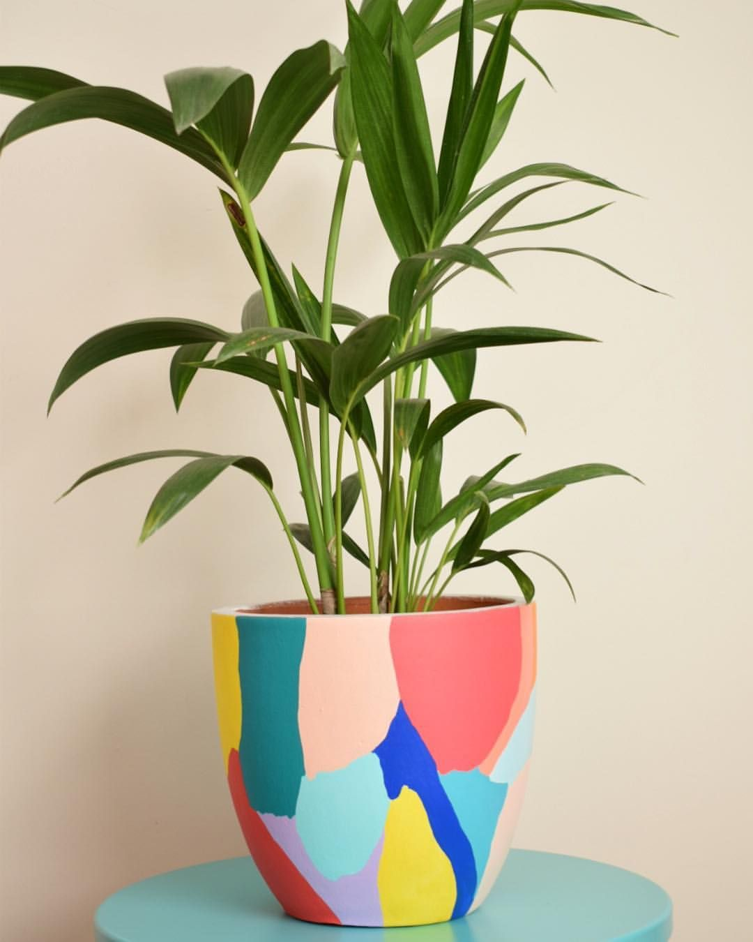 Diy Planters With Colorful Abstract Painting Painted Plant Pots Diy Flower Pots Painted Pots Diy