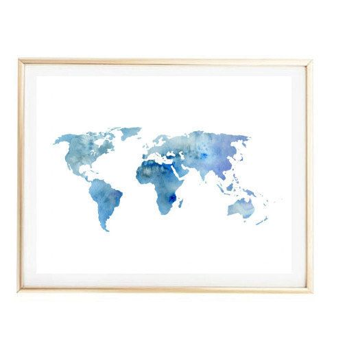 Blue world map painting map art print room decor typographic print blue world map painting map art print room decor typographic print drawing wall decor framed quotes gumiabroncs Gallery