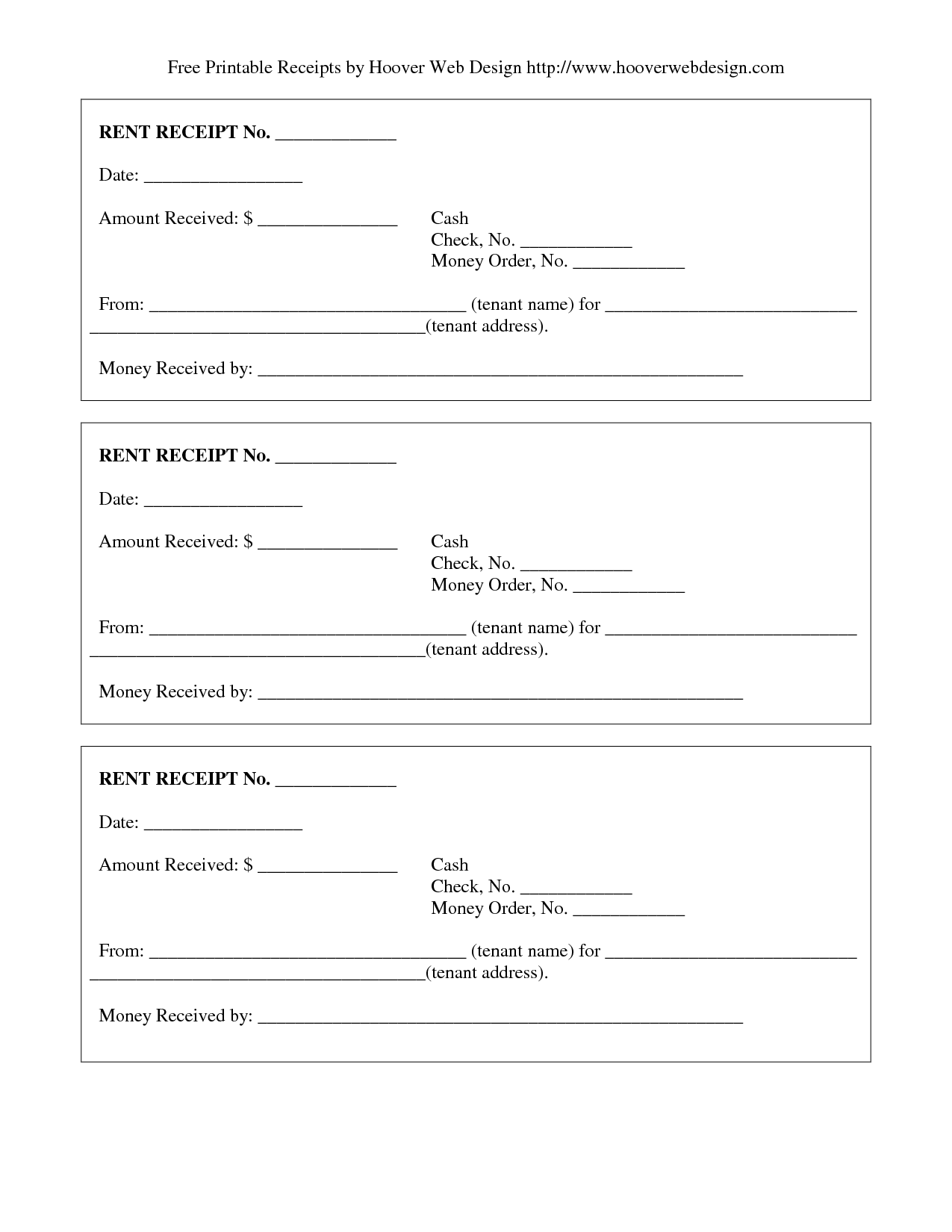 free printable rent receipts