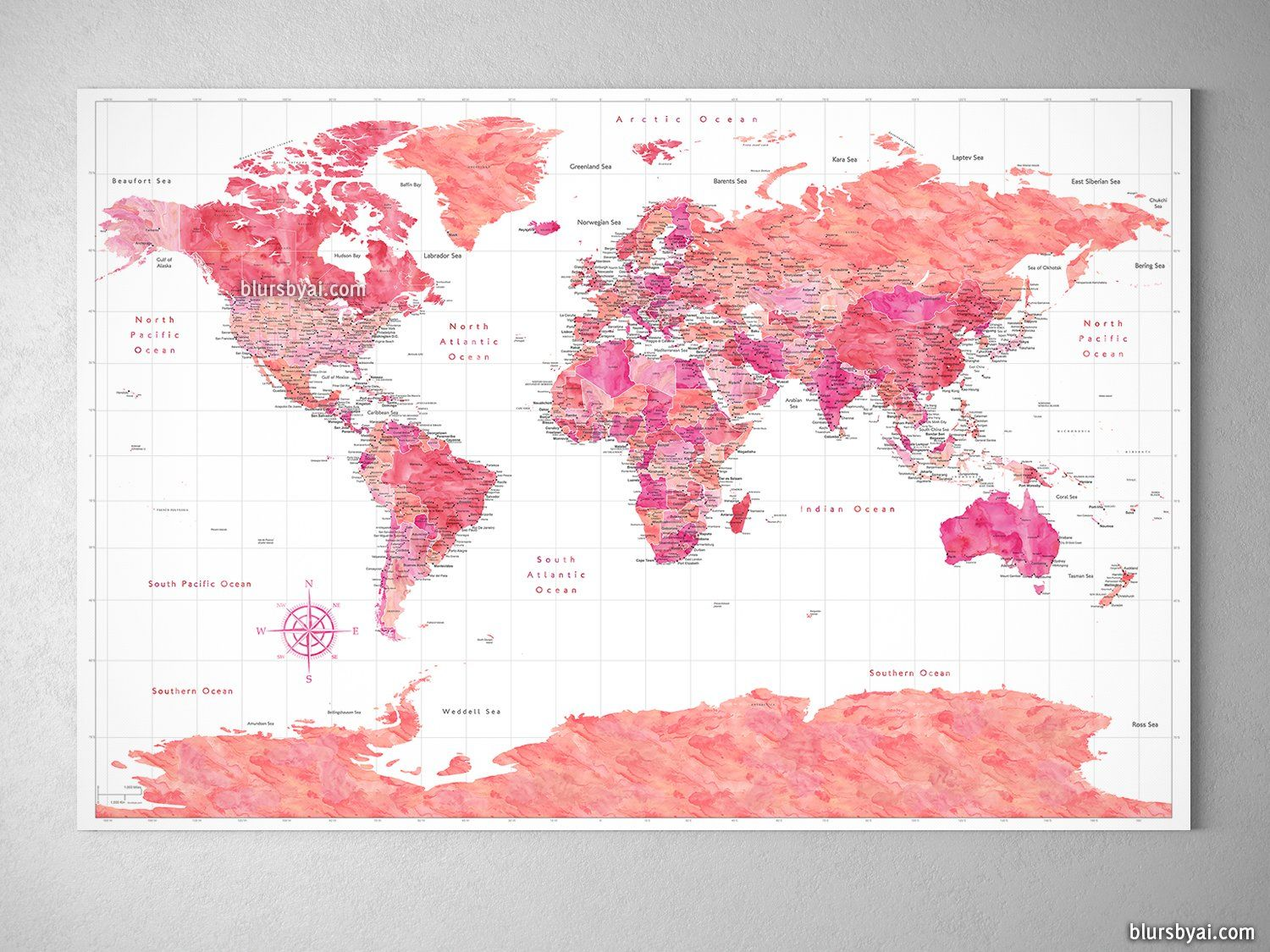 Orange and pink world map with cities and antarctica canvas print orange and pink world map with cities and antarctica canvas print or push pin map tatiana gumiabroncs Image collections