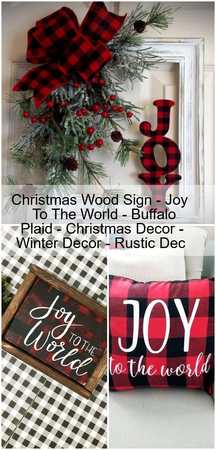 Christmas Wood Sign  Joy To The World  Buffalo Plaid  Christmas Decor  Winter Decor  Rus Christmas Wood Sign  Joy To The World  Buffalo Plaid  Christmas Decor  Winter Dec...