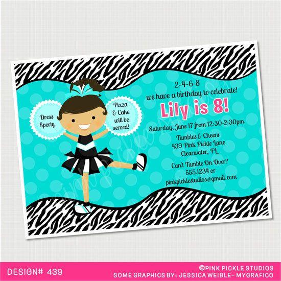 Zebra Print & Polka Dot Cheerleader Birthday by PinkPickleParties, $10.00