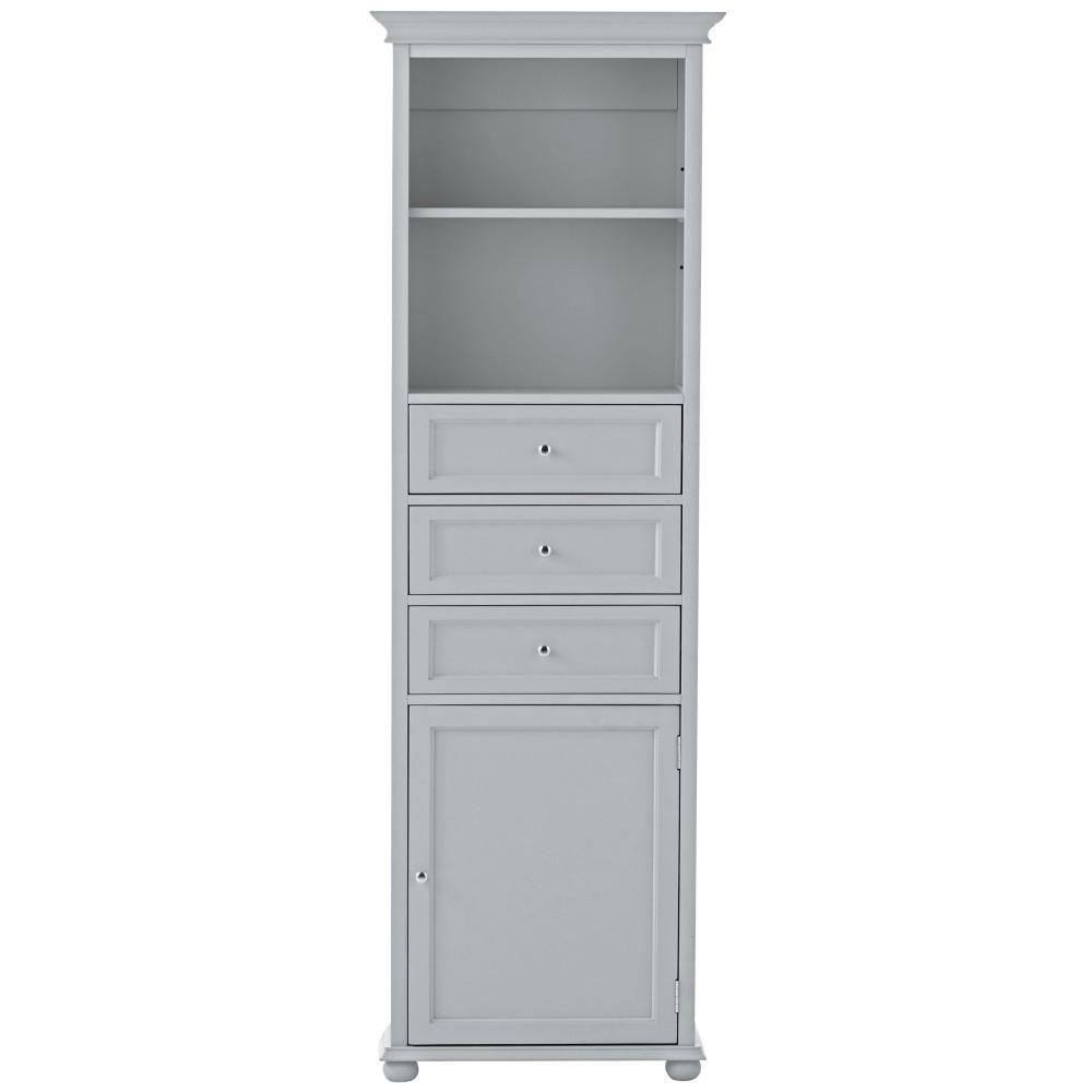 Home Decorators Collection Hampton Harbor 22 In. W X 10 In. D X 67 1/2 In.  H Linen Storage Cabinet In Dove Grey